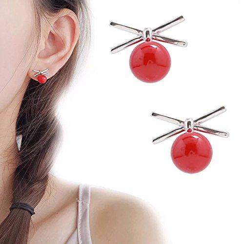s925 Silver Small red Beans Unique Cross Bow Earrings earings Dangler Eardrop Pearl