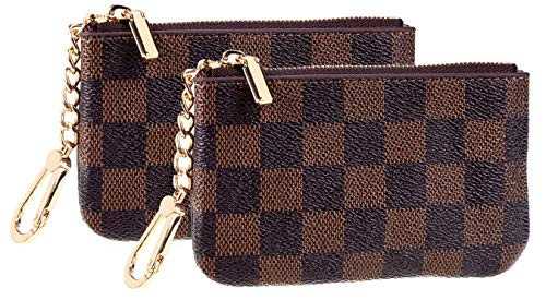 Rita Messi Luxury Checkered Zip Coin Pouch Purse Change Holder Wallet with Key Chain 2 pcs Set (01 Victoria)