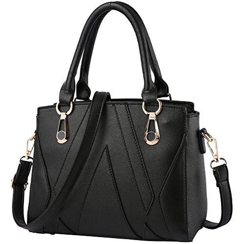 Taille Fourre Messager tout wealsex Sacs Noir Bandoulière Femme Mode Shopping 25 Cuir de Bureau 21 cm Elégant Rayure 12 Epaule Main Sac à Tv6gqOT