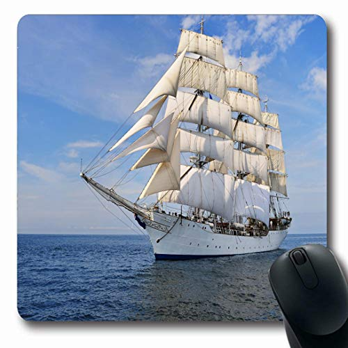 (Ahawoso Mousepads for Computers Water Blue War Tall Ship Under Sail Shore Nature Sailboat Sports Recreation Navy Pirate Sea Passenger Oblong Shape 7.9 x 9.5 Inches Non-Slip Oblong Gaming Mouse)