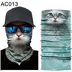 shengyuze Bufanda Unisex para el Sol, Diseño de Animales, Diseño de Pasamontañas, Máscara para el Cuello, Bandana para la Cabeza, AC013