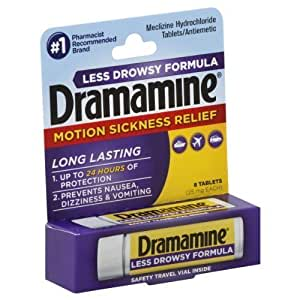 Dramamine Tablets Less Drowsy Formula, 8 tablets (Pack of 3)