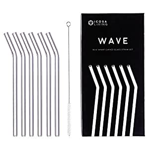 "WAVE Premium Curved Glass Straws Set - 6 Pack, 9"" x 10mm"