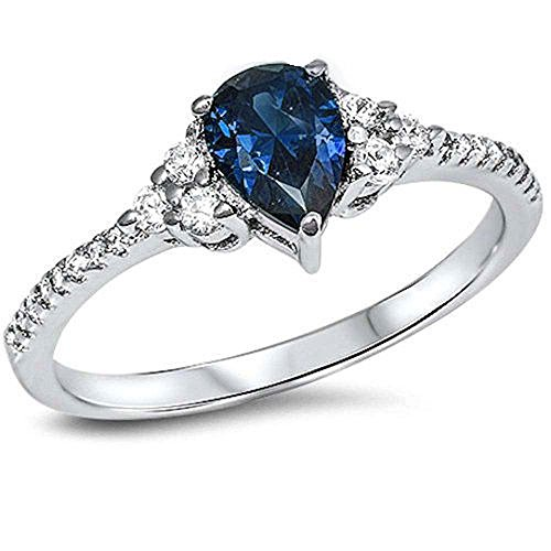 Pear Shape Simulated Sapphire & Cz .925 Sterling Silver Ring Size 6 by Oxford Diamond Co