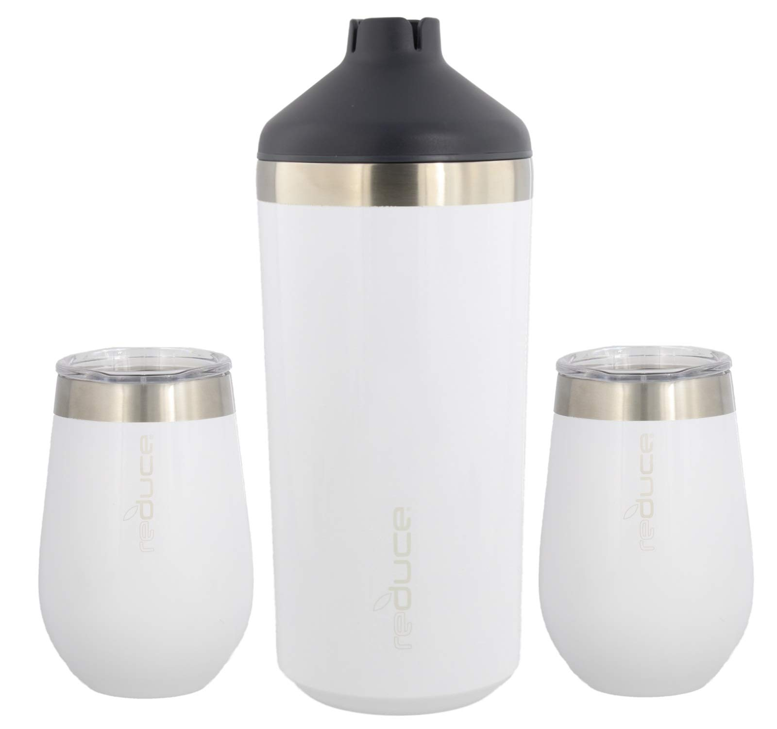 reduce Stainless Steel Wine Cooler Set, Opaque Gloss White - Includes (1) 750mL Wine Cooler with (2) Vacuum Insulated 12oz Wine Tumblers – Tasteless & Odorless, BPA Free