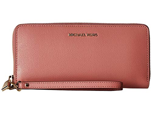 Wallet Set Leather - Michael Kors Saffiano Leather Jet Set Travel Continental Wristlet Wallet in Rose