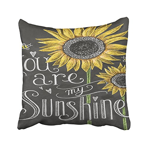 Pillow Sunflower (Accrocn Decorative Throw Pillow Cover 18x18 Inches You Are My Sunshine Sunflowers Chalk Painting Cotton Decorative Pillowcases With Hidden Zipper Decor Cushion Covers)