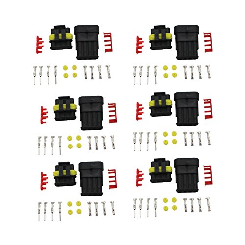 Raogoodcx 4 Pin Way Waterproof Electrical Wire Connector Plug - 6 Sets