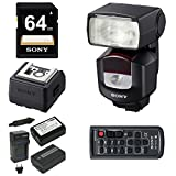 Sony HVL-F43M External Flash/Video Light + Sony 64GB Memory Card + Sony ADP-AMA Auto-Lock Hot Shoe Adapter + Power Battery and Charger + Camera Remote Control