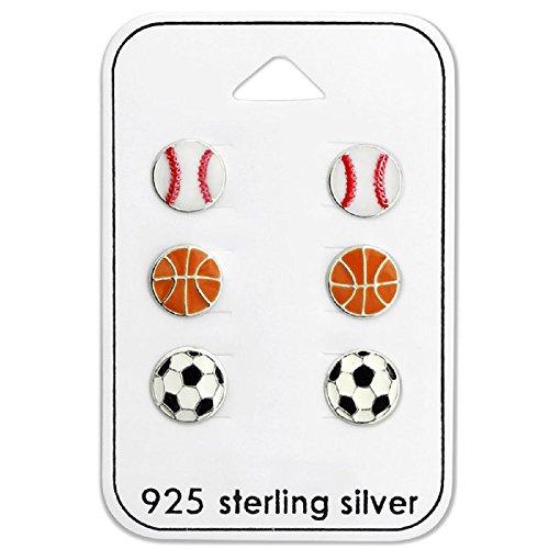 - 925 Sterling Silver (SET OF 3) Sports Stud Earrings 28471