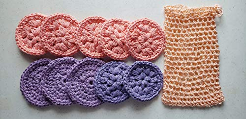 Eo- friendly handmade 100% cotton crochet face scrubbies, face scrubbers, make-up remover pads,facial wipes set of 10 with soap saver or washing pouch by Ekimgifts