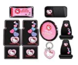 Hello Kitty Sanrio Hearts Design 10pc Auto Accories Combo Set - Front & Rear Floor Mats, Seat Covers, Steering Wheel Cover, CD Visor Organizer, License Plate Frame & Keychain