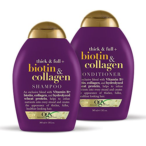 OGX Thick & Full + Biotin & Collagen Shampoo & Conditioner Set, 13 Ounce