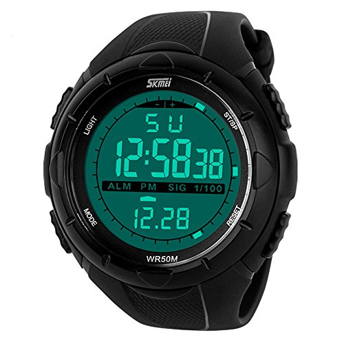 Mens Big Face Digital Sport Watches Army Wristwatch Military Running Waterproof Alarm Stopwatch Chronograph Athletic LED(Black)