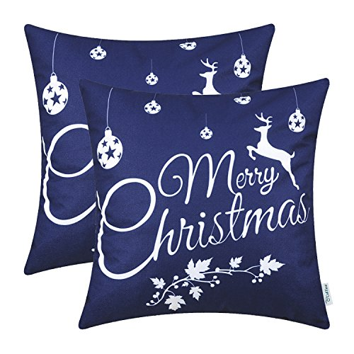 CaliTime Pack of 2 Soft Canvas Throw Pillow Covers Cases for Couch Sofa Home Decor Merry Christmas White Reindeer 18 X 18 Inches Navy Blue (Reindeer Home Decor)
