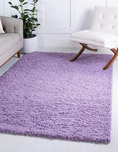 Unique Loom Solo Solid Shag Collection Modern Plush Lilac Area Rug (5' 0 x 8' 0) (Purple Light Rug Area)
