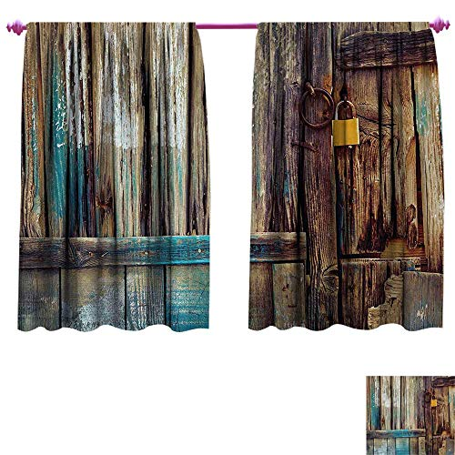 Anniutwo Rustic Waterproof Window Curtain Aged Shed Door Backdrop with Color Details Country Living Exterior Pastoral Mansion Image Room Darkening Wide Curtains W72 x L63 Brown