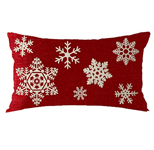 Bnitoam Red Snowflake Merry Holiday Cotton Linen Throw Pillow Covers Case Cushion Cover Sofa Decorative Square 12x20 inch Decorative Pillow Wedding