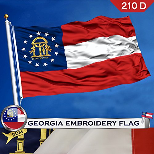 G128 Georgia State Flag 210D Oxford Nylon 3x5 ft EMBROIDERED
