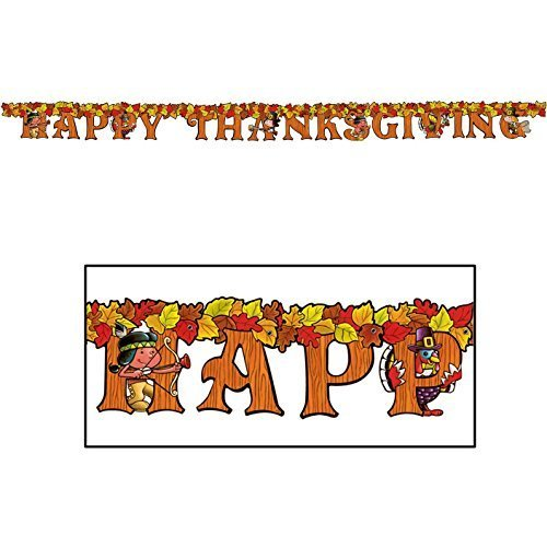 Happy Thanksgiving Streamer 5in. X 6ft. Party Accessory (1/pkg) Pkg/3 by Beistle