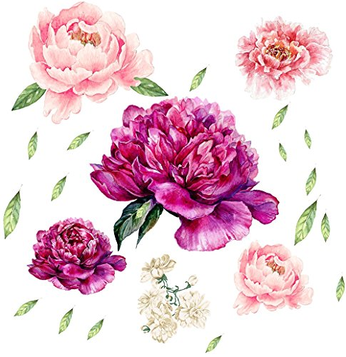 (Peony Flowers Wall Decals Garden Flowers Peel and Stick Removable Stickers 15.8