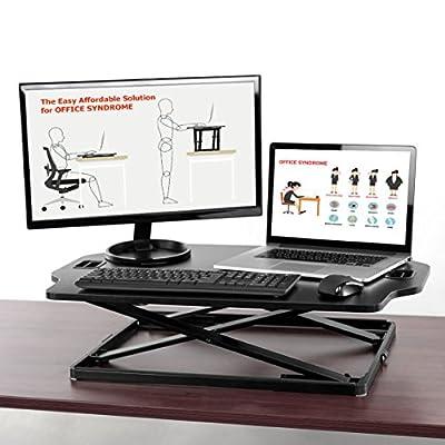 Clevr Standing Desk Workstation, Ultra Slim Height Adjustable Sit-Stand Up Workstation Converter, Instantly Convert any Desk to a Sit / Stand Up Desk