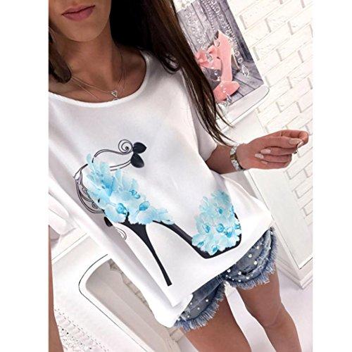 Vovotrade Mujer Corto Manga Tacones altos Impreso Tops playa Casual Suelto Blusa Parte superior Camiseta Azul