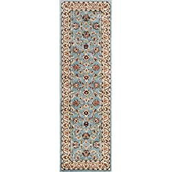 "Well Woven Noble Sarouk Light Blue Oriental 2x7 (2'3"" x 7'3"" Runner) Area Rug Traditional Persian Floral Carpet"