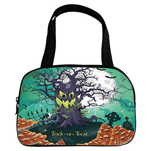 Personalized Customization Small Handbag Pink,Halloween Decorations,Trick or Treat Dead Forest with Spooky Tree Graves Big Kids Cartoon Art,Multi,for Girls,Personalized -