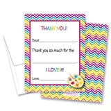20 Bright Chevrons Painting Girl Kids Fill-in Birthday Thank You Cards