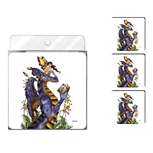 Tree-Free Greetings NC37582 Amy Brown Fantasy 4-Pack Artful Coaster Set, Book Club Reading Dragon and Fairy