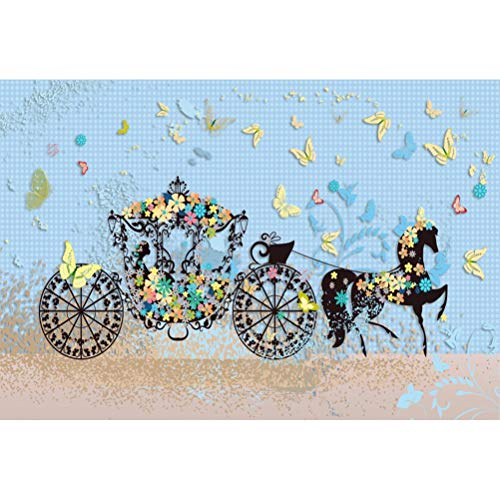 Laeacco Cartoon Floral Princess Carriage Butterflies Horse 8x6.5ft Vinyl Photography Background Fairy Tale Story Scenic Backdrop Child Adult Girl Birthday Banner Wallpaper Studio Props ()