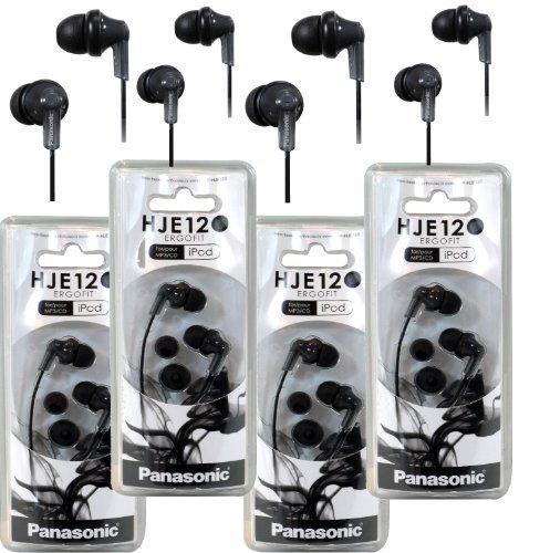 Panasonic RP-HJE120 ErgoFit In-Ear Headphones Stereo Earbuds (4-Pack, Black)