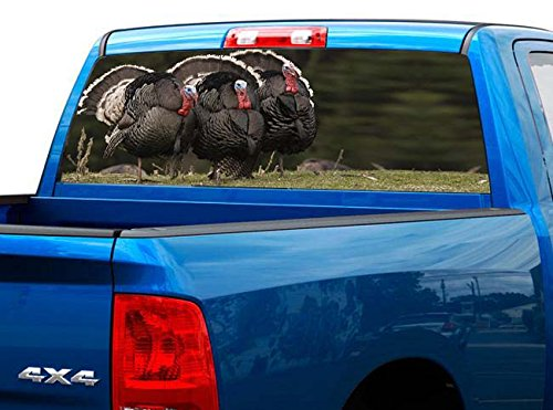 P512 Turkey Tint Rear Window Decal Wrap Graphic Perforated See Through Universal Size 65