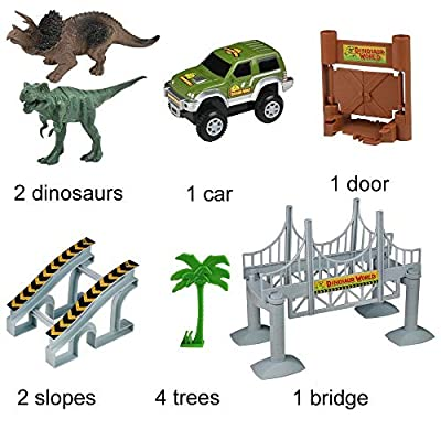 baccow Kids Dinosaur World Toys for 3 4 5 6 7 8 Year Old Boys Girls Gifts 142 Flexible Assembly Train Tracks Car Toys 2 Dinosaurs(Extra 1 Set Traffic Signs): Toys & Games