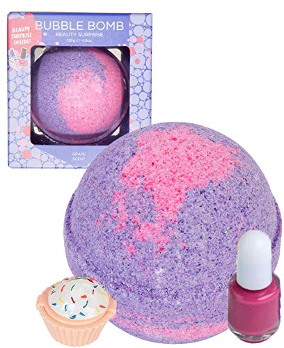 Beauty Bubble Bath Bomb with Surprise Nail Polish or Lip Gloss Inside. 99% Natural Fizzy in Gift Box. Moisturizes Dry Sensitive Skin. Releases Color, Scent, and Bubbles.