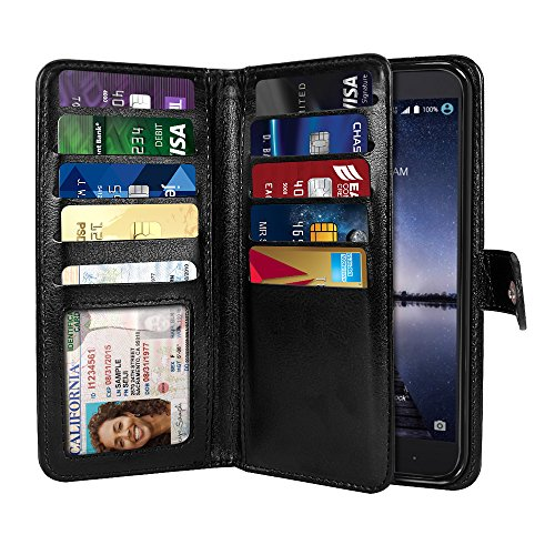 NEXTKIN Case Compatible with ZTE Zmax Pro Carry Z981, Leather Dual Wallet Folio TPU Cover, 2 Large Pockets Double Flap, Multi Card Slots Snap Button Strap for Zmax Pro Carry Z981 - Black (Best Zmax Pro Case)