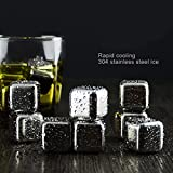 Elecrow Whiskey Stones, Stainless Steel Reusable Wine Ice Cubes, Set of 8 with Plastic Storage Box Tongs Sipping Stones Whiskey Chilling Rocks Funny Glass Markers