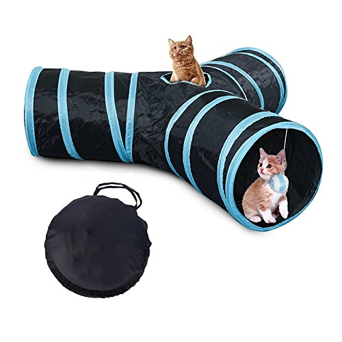 Bello Luna 3-Way Cat Tunnel Collapsible Pet Play Fun Tube Tunnel with Carrying Case for Cat, Puppy, Kitty, Kitten, Rabbit by Bello Luna