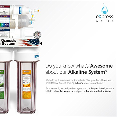 Express-Water-ROALK10DCG-10-Stage-Home-Drinking-Filtration-System-Alkaline-pH-Reverse-Osmosis-100-GPD-RO-Membrane-Clear-Housing-Deluxe-Chrome-Faucet-Pressure-Gauge-BPA-Free