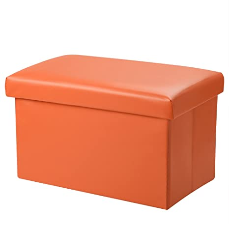 Amazoncom Foldable Leather Storage Ottoman Bench Footrest Stool