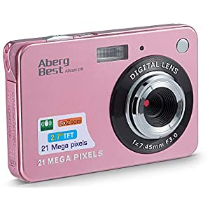 AbergBest 21 Mega Pixels 2.7″ LCD Rechargeable HD Digital Video Students Cameras-Indoor Outdoor for Adult/Seniors/Kids (Rose Gold)