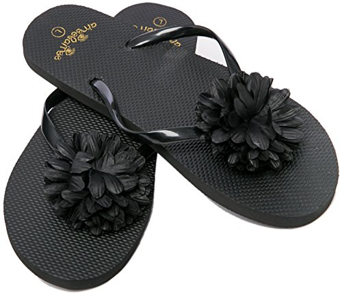 Flip Flops Womens Pool Beach Shoes with Flower Pattern- Floral Design (Large/US 9-10, Black)