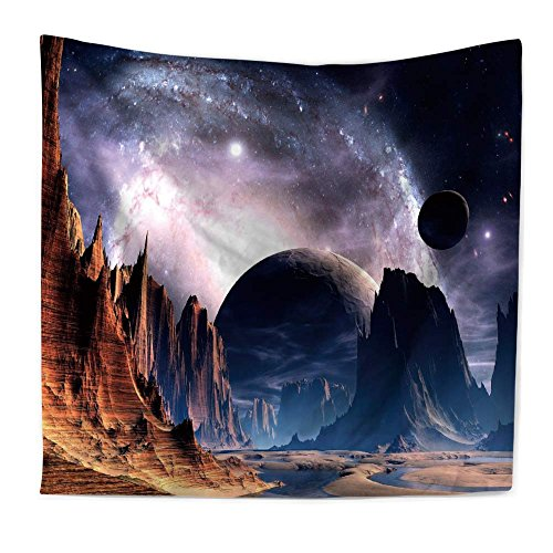 Roslynwood Wall Tapestry Hanging, Planet with Earth Moon and Mountains – Light-Weight Polyester Fabric Wall Decor Galaxy#2 ()