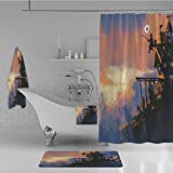 iPrint Bathroom 4 Piece Set Shower Curtain Floor mat Bath Towel 3D Print,Sitting on The Castle Standing Over Rocky Cliffs,Fashion Personality Customization adds Color to Your Bathroom.