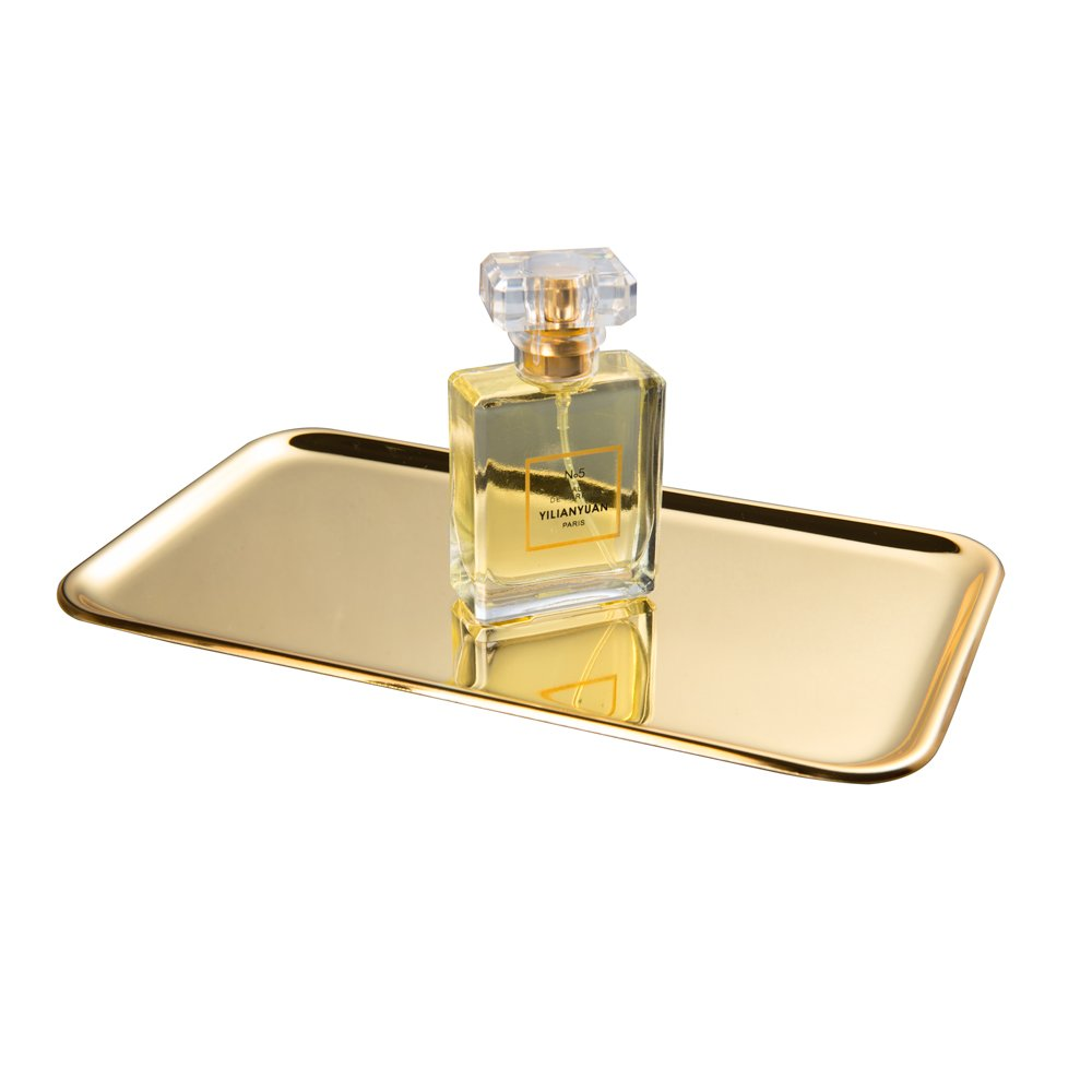 Feyarl 2 pack Vanity Tray Cosmetic Jewelry Tray for Perfume, Beauty SUS304 Stainless Steel (Gold)