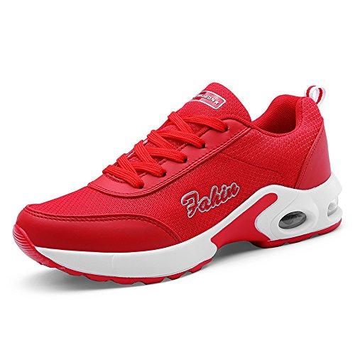 Red Shoe レディース スニーカー ランニングシューズ カジュアル メッシュ エアクッション レースアップ 5色展開 通気性 軽量 厚底 スポーツ Sport shoes