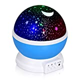 Kingwen Night Lighting Lamp, Star Light 360 Degree Rotating Projector, 4 LED Bulbs 10 Modes for Children Kids Bedroom