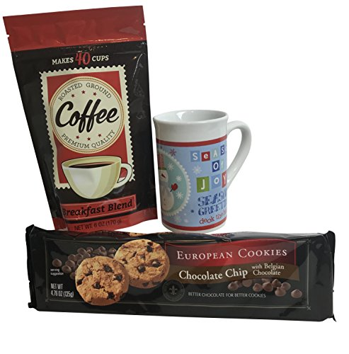 Holiday Gift Set Bundle: One Seasons Greetings Mug, One Box Chocolate Chip Cookies, One Bag of Coffee