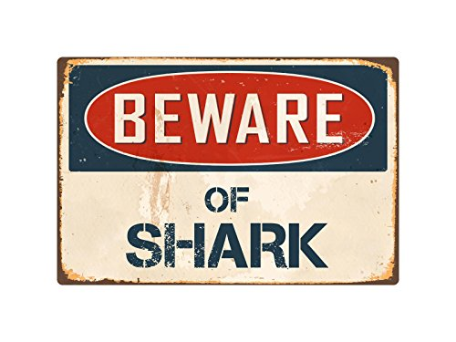 "StickerPirate Beware of Shark 8"" x 12"" Vintage Aluminum Retro Metal Sign -"